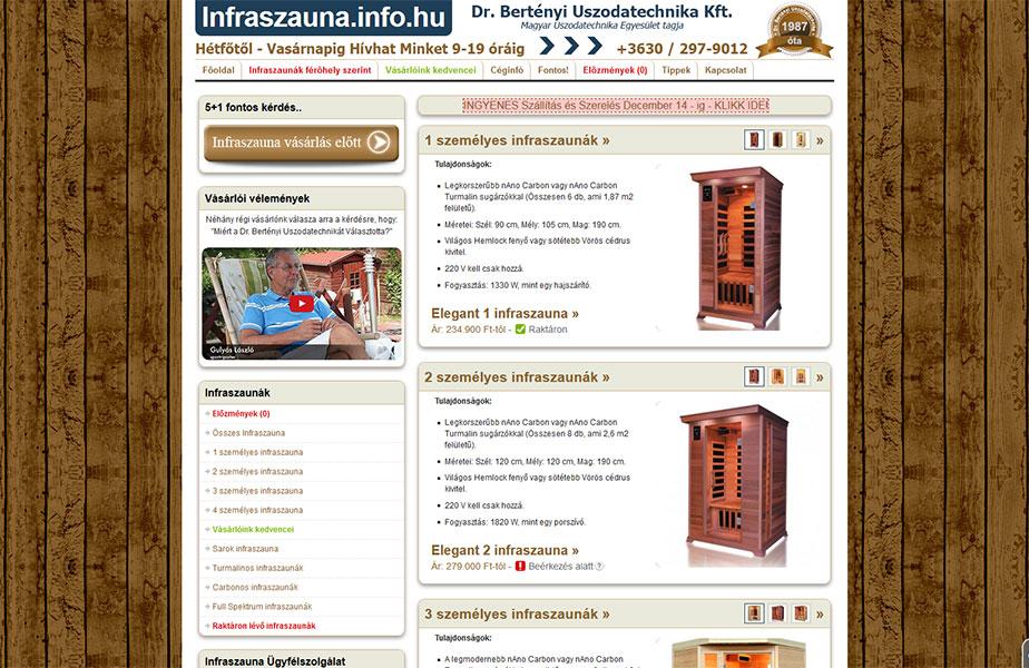 Infraszauna honlap és optimalizálás